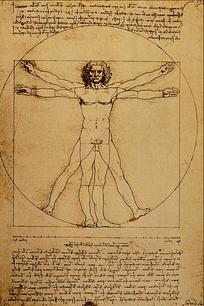 Leonardo da Vinci's 'Vitruvian Man' (ca. 1487) is often used as a representation of symmetry in the human body and, by extension, the natural universe.