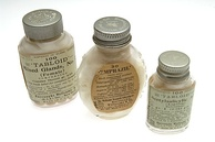 3 pill pots from the Burroughs Wellcome and Company : Tabloid Mixed Glands No. 2 tablets, Emprazil tablets and Tabloid Acetylsalicylic Aid tablets [Aspirin]