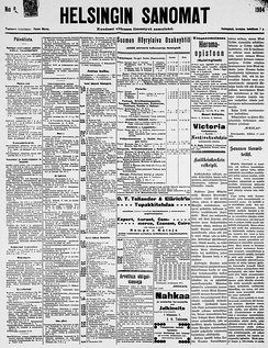 "The front page of the Helsingin Sanomat (""Helsinki Times"") on July 7, 1904"