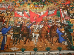 The Tlaxcala flag was painted by Desiderio Hernández Xochitiotzin in the interior of the State Government Palace