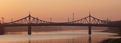 A suspension bridge (Stariy Most/Старый Мост) across the Volga in Tver (built 1897–1900, damaged during the war, repaired in 1947 and rebuilt in 1980)