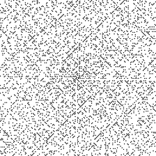 The Ulam spiral of numbers, with black pixels showing prime numbers. This diagram hints at patterns in the distribution of prime numbers.