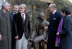 Unveiling of the Young Darwin statue at Christ's College, Cambridge. Left to right: Alan Smith, benefactor; Frank Kelly, Master; Anthony Smith (sculptor); Prince Philip, Duke of Edinburgh, Chancellor; Alison Richard, Vice-Chancellor.