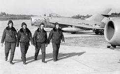 North Vietnamese Air Force pilots walk by their aircraft the MiG-17. The development of the North Vietnamese Air Force during the war was assisted by Warsaw Pact nations throughout the war. Between 1966 and 1972 a total of 17 flying aces were credited by the NVAF against US fighters.[334]