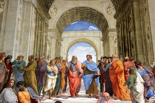 The School of Athens, a famous fresco by the Italian Renaissance artist Raphael, with Plato and Aristotle as the central figures in the scene