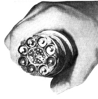 AT&T coaxial cable trunkline installed between East Coast and Midwest in 1948. Each of the 8 coaxial subcables could carry 480 telephone calls or one television channel.