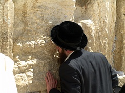 A man praying at the Western Wall