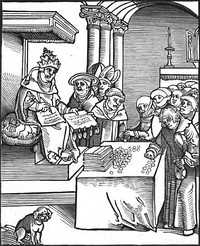 Passional Christi und Antichristi, by Lucas Cranach the Elder, from Luther's 1521 Passionary of the Christ and Antichrist. The Pope as the Antichrist, signing and selling indulgences.