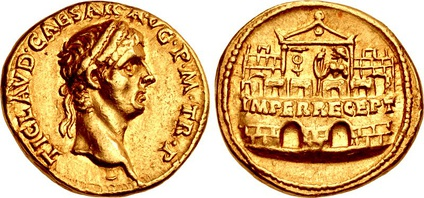 "Aureus of Claudius, struck at the Lugdunum (Lyon) mint, dated 41–42. The depiction on the reverse meant to commemorate the ""reception of the emperor"" (imperator receptus) at the Praetorian Camp and the protection the Praetorian Guard afforded Claudius in the days following the assassination of Caligula. Issued over a number of years in both gold and silver, these type of coins were struck to serve as part of the annual military payments Claudius had promised the Guard in return for their role in raising him to the throne. Caption: TI. CLAVD. CAESAR AVG. P. M., TR. P. / IMPER. RECEPT."