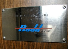 The Budd company logo on the builder's plate in a Metro-North Railroad M3 railcar.