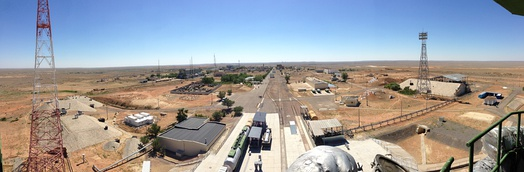 A panorama of the Baikonur Cosmodrome Site 31 taken from atop the Soyuz support structure. A Zenit facility can be seen in the distance.