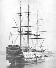 HMS Victory in 1884, the only surviving example of a ship of the line