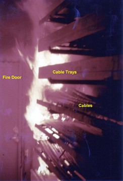 Fire test in Sweden, showing fire rapidly spreading through the burning of cable insulation, a phenomenon of great importance for cables used in some installations.