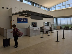 Cape Air maintains a ticket counter inside the terminal.