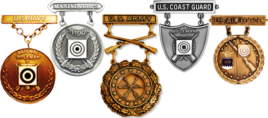 Examples of U.S. armed force's EIC Badges for the service rifle