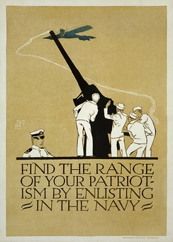 United States Navy recruitment poster from 1918. Note the appeal to patriotism. (Digitally restored).