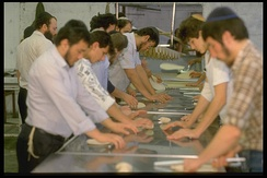 Baking matzot at Kfar Chabad