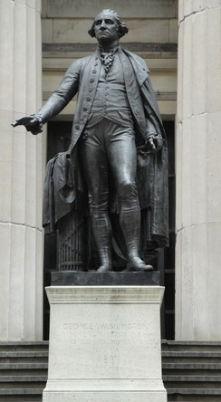 Statue of Washington outside the Federal Hall Memorial in lower Manhattan, site of Washington's first inauguration as President