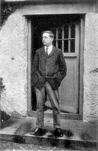 H. G. Wells in 1907 at the door of his home Spade House at Sandgate in Kent