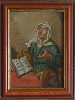 "Reverse glass painting of a woman praying Psalm 119 (118):22, Aufer a me opprobrium et contemptum (""Take away from me scorn and contempt"")"