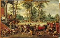 Allegory of the Tulip omania [de], persiflage on the tulip mania, by Jan Brueghel the Younger (1640s)