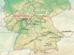 The various definitions of the Weißwurstäquator: 1) The Speyer line (green), 2) the river Main line as the frontier of Prussian hegemony before 1871 (red), 3) the 49° latitude (black).