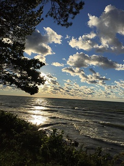A famous view: approaching sunset over Lake Ontario from the SUNY Oswego campus.