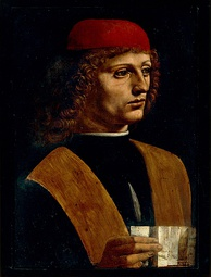 The Portrait of a Musician, oil on wood painting by Leonardo da Vinci.