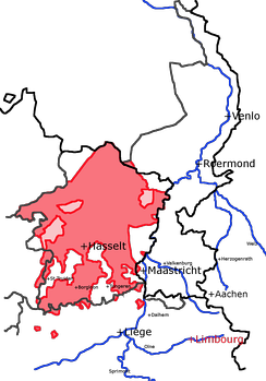 This map shows the medieval County of Loon in red, with modern provincial (grey) and national borders (black). The light red zones were under Loon and another lord jointly.