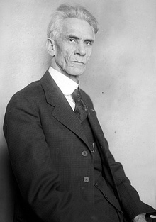 Aged gentleman in three-piece suit, staring at the camera.