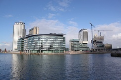 MediaCityUK being built at Salford Quays