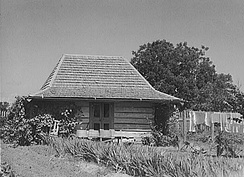 1940 photograph of the washhouse (laundry) at Melrose Plantation in Melrose, Louisiana