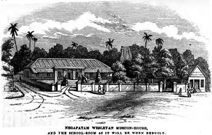 Negapatam Wesleyan Mission-House and the school-room as it will be when rebuilt (October 1855, p. 108, Rev. Thomas Hodson)[49]