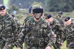 Irish Army personnel from the Nordic Battle Group at an exercise in 2010
