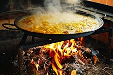 Traditional preparation of paella