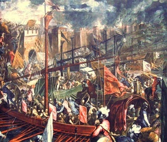 Capture of Constantinople during the Fourth Crusade in 1204.