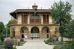 The 16th-century Chehel Sotun pavilion in Qazvin, Iran. It is the last remains of the palace of the second Safavid king, Shah Tahmasp; it was heavily restored by the Qajars in the 19th century.