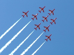 The Red Arrows, based at RAF Scampton near Lincoln[41] are a popular attraction at the Waddington Air Show