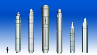 Selected Russian and Chinese SLBMs. L to R: R-29 Vysota (SS-N-8), R-29R (SS-N-18), R-39 (SS-N-20), R-29RM (SS-N-23), JL-1, JL-2