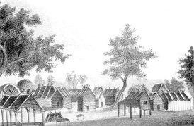 View of a Seminole village shows the log cabins they lived in prior to the disruptions of the Second Seminole War