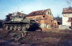 Destroyed Yugoslav Army tank, a scene from the Croatian War of Independence