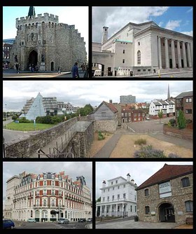Montage of Southampton. Clockwise from top-left: Bargate; Guildhall; Top of west walls; Wool house and custom house; Southwestern house