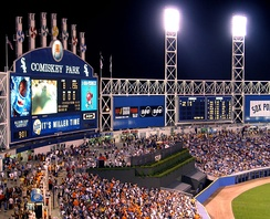 The then Comiskey Park in 2002 with the new batter's eye