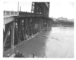 The Steel Bridge during the flood