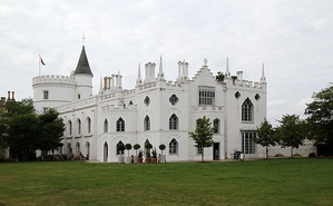 "Strawberry Hill House, Twickenham, London; 1749 by Horace Walpole (1717–1797). ""The seminal house of the Gothic Revival in England"", it established the ""Strawberry Hill Gothic"" style[14]"