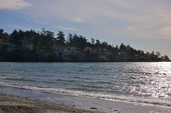 Ten Mile Point, as seen from the beach on Cadboro Bay