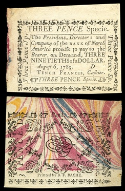 Three pence Bank of North America note printed (1789) by Bache on specialized marbled paper obtained by Benjamin Franklin