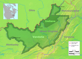 Vandalia was the name of a proposed British colony located south of the Ohio River, primarily in what is now the U.S. states of West Virginia and eastern Kentucky