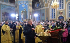 Putin attends the Orthodox Christmas service in the village Turginovo in Kalininsky District, Tver Oblast, 7 January 2016