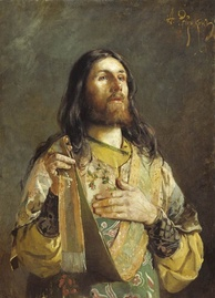 Russian Orthodox deacon giving an ektenia. He holds the edge of his orarion in his right hand, and will raise it as he finishes each petition.